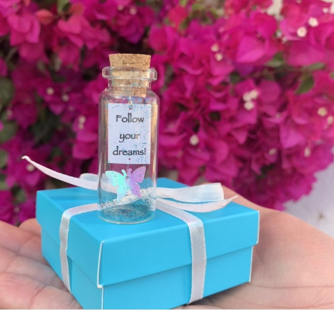 Inspirational gift for her, Butterfly, Engagement gift, Message in a bottle, Best Friend gift, Girlfriend Gift, Follow your dreams, Wish Jar