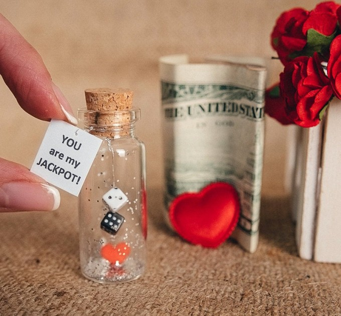 Personalized gift for girlfriend or boyfriend Tiny Message in a Bottle Love Greeting card Funny Valentine card Boyfriend gift