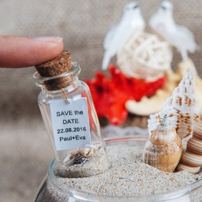 Save the date Beach wedding favors Wedding keepsake Save the date bottle Nautical wedding favors Beach in a bottle Invitations SET OF 10