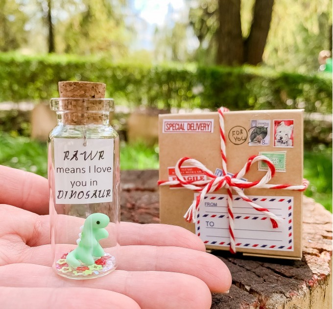 Dinosaur Gift RAWR I love you Message in a Bottle Cute Gift for Boyfriend or Girlfriend Miniature  Dinosaur Funny Present