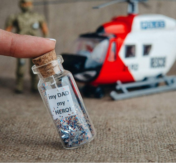 Fathers day gift, Dad Gift from son, Gift for Grandfather, Police Officer Gift, Fathers Day gift from Daughter, Message in Bottle