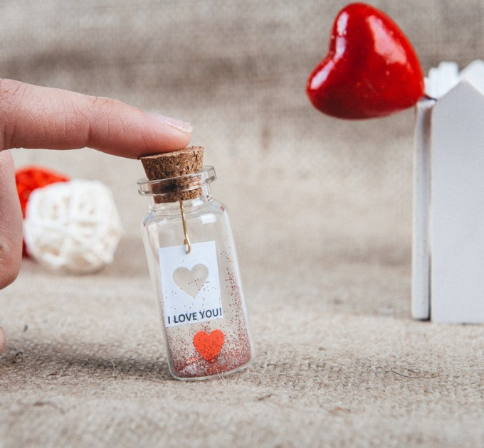 I love you gift for her Engagemnet gift Message in a bottle Personalized gift for him miniature red heart Custom gift ideas Girlfriend gift