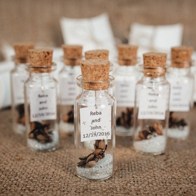 Wedding favors for guests Rustic Thank You Gift Personalized Message in a bottle Winter Unique Silver White Beige Shabby Wedding favors