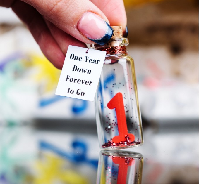 Small anniversary gifts, Boyfriend or husband gift, One year anniversary couple, Girlfriend or wife personalized gift, Message in bottle