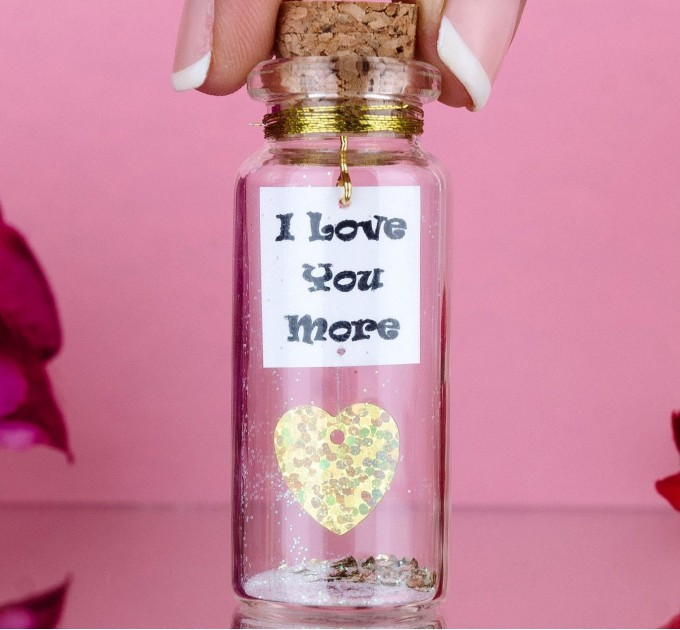 I love you more, Message in a Bottle, Gift for Boyfriend, Girlfriend gift, Mature,  Anniversary gift for her, Special gift for him, Wish jar