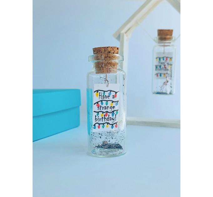 Happy Birthday Decorative Bottle, Stranger Things Inspired Funny Birthday Gift for Best Friend, Boyfriend Or Girlfriend Miniature Wish Jar