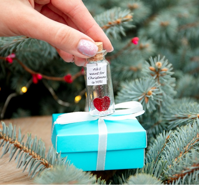 Christmas gift for boyfriend Personalized wish jar Romantic gift for girlfriend Cute Xmas present Holiday gift for him New Year gift