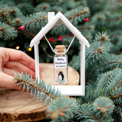 Secret santa gift for men Cute gift for boyfriend Funny secret santa gift Penguin gift Cute Christmas gift Wish jar