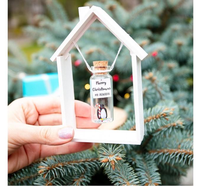 Secret santa gift for men Cute gift for boyfriend Funny secret santa gift Penguin gift Cute Christmas gift Wish jar