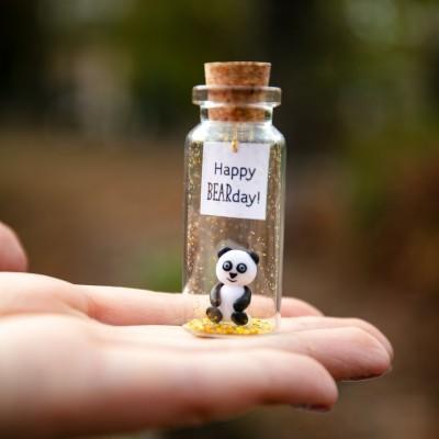 Panda birthday gift Best Friend gifts Miniature panda bear Cute Wish jar Sentimental gift for her Happy Bearday Animal pun Panda lovers gift