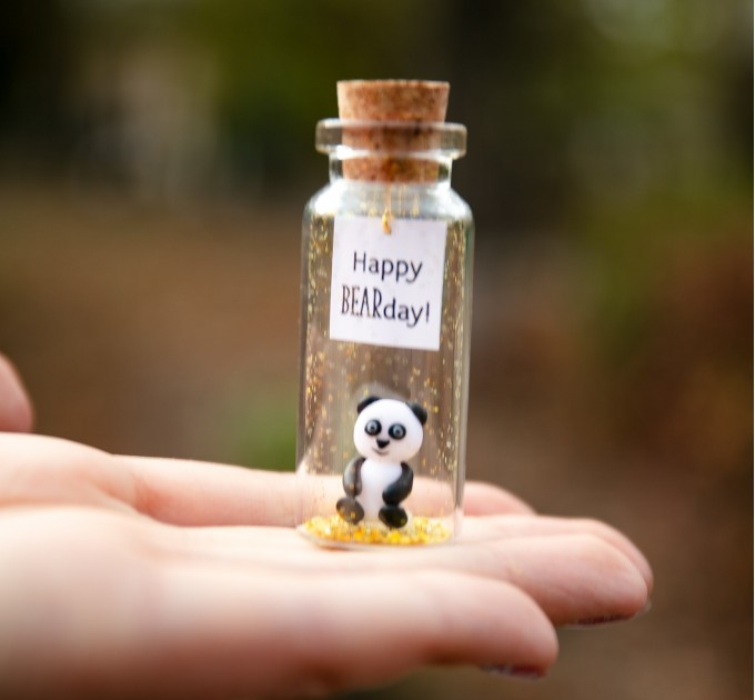 Kseniya Revta Panda birthday gift Best Friend gifts Miniature panda bear Cute Wish jar Sentimental gift for her Happy Bearday Animal pun Panda lovers gift