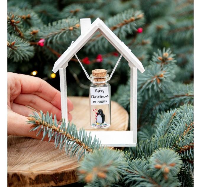 Penguin Christmas gift for her Secret santa gift for women Merry Christmas wish jar Penguin lovers gift