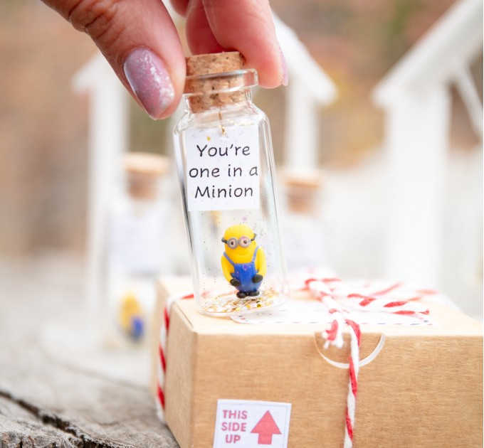 Funny boyfriend gift Cute gift for girlfriend You're one in a Minion Present for her Miniature gift for him Cartoon lover