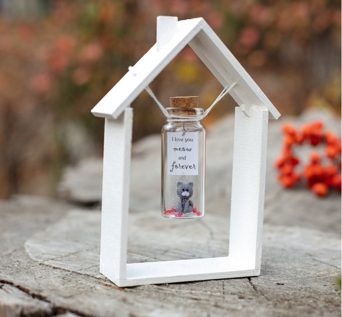 Cute gift ideas for her Cat lover gift Miniature cat figurine Cute gift for girlfriend Cat owner gift Cat gift for boyfriend