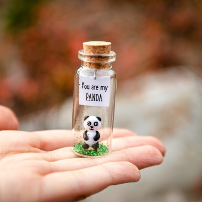 Panda gift Cute panda bear gift for panda lovers Miniature animal figurine Small boyfriend gift Unique girlfriend gift You are my Panda