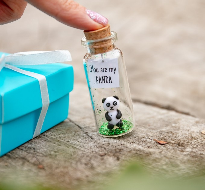 Panda gift Cute panda bear gift for panda lovers Miniature animal figurine Small boyfriend gift Unique girlfriend gift You are my Panda