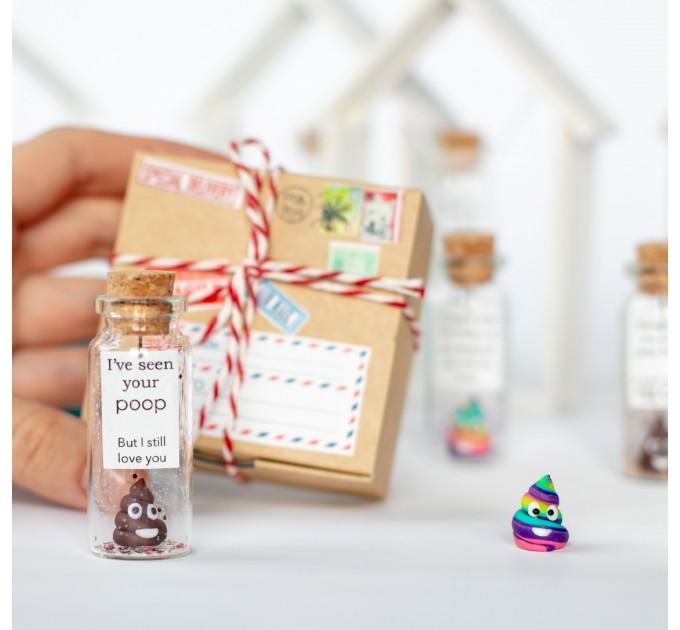 Funny Anniversary Gift Poop Emoji Boyfriend Gift Gag Anniversary Husband Wish Jar Humor Girlfriend Message in Bottle Funny present for wife