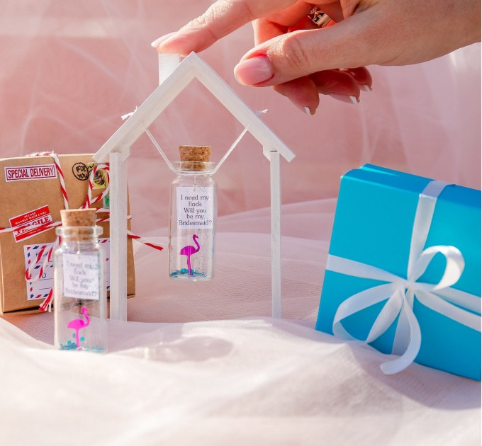 Flamingo Bridesmaid gift Will you be my Bridesmaid? Personalized Bridesmaid Proposal Bridesmaid Gift Ideas Tropical Wedding Bridal shower