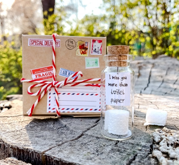 I miss you more than toilet paper Quarantine cheer up gift Funny gift for friend Thinking of you Toilet paper roll Long distance friend