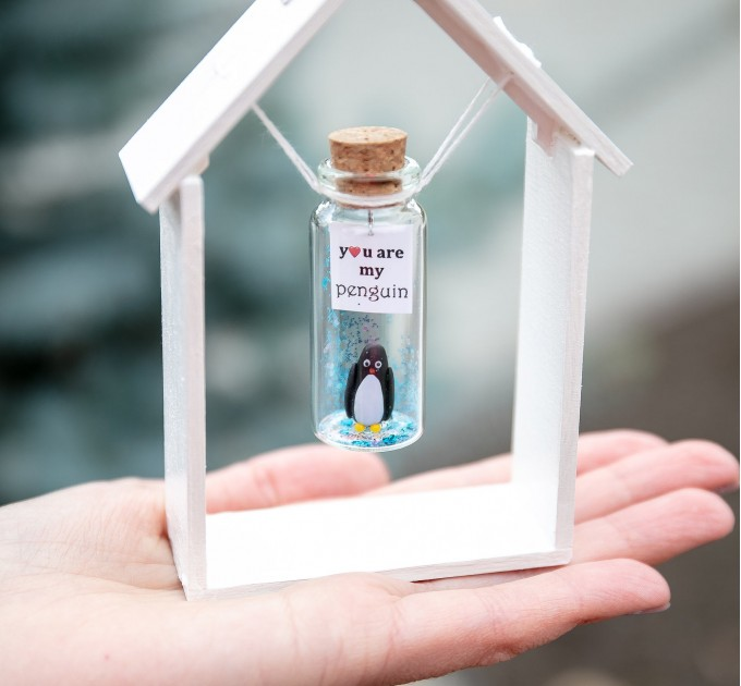 I love you gift for girlfriend Anniversary gift for boyfriend Miniature penguin Small gift for wife Personalized gift for husband