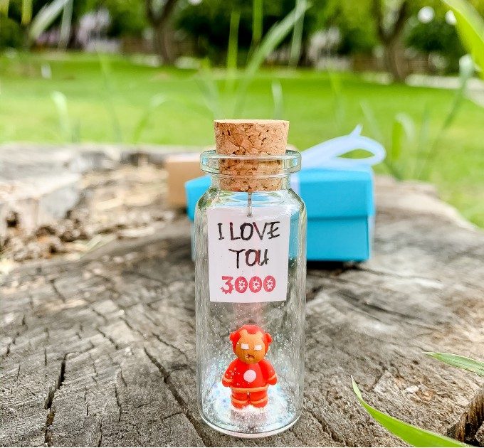 Iron Man I love you 3000 Unique gift for him Anniversary Gift for Boyfriend Superhero Gift For Him Movie Loves Gift Miniature Wish Jar For Men