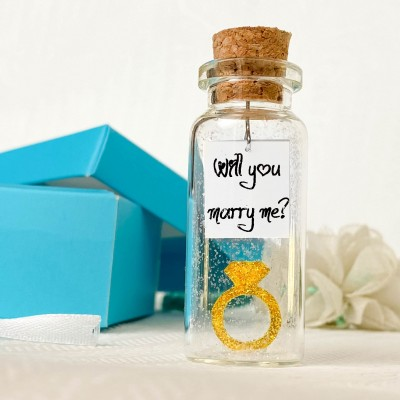 Will You Marry Me - Tiny Ring and Message in a Bottle Decoration - Romantic and Unique Marriage Proposal Gift Idea