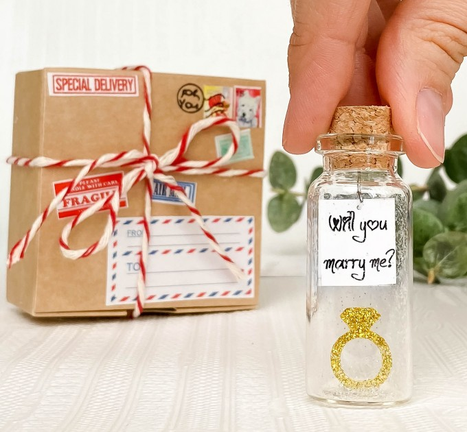 Kseniya Revta Will You Marry Me - Tiny Ring and Message in a Bottle Decoration - Romantic and Unique Marriage Proposal Gift Idea (Decorative Ring and Message in a Bottle)